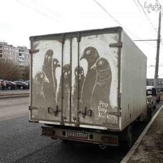 نقاشی زیبا بر روی ماشین های کثیف