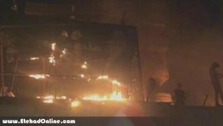 به آتش کشیده شدن کنسولگری ایران در بصره توسط معترضین عراقی