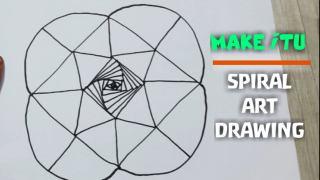 نقاشی  سه بعدی مارپیچ عجیب و غریب